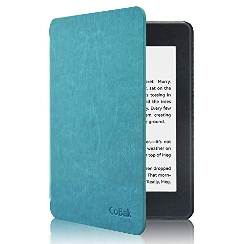 CoBak Kindle Paperwhite Case - Latest PU Leather Smart Cover with Auto Sleep Wake Feature for Kindle Paperwhite 10th Generation 2018 Release Sky Blue