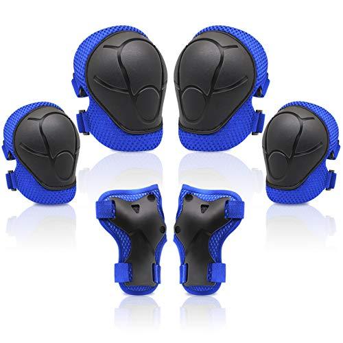 SYOSIN Conjuntos de Protecciones Infantil,Consta de Rodilleras Coderas,es Adecuado para Monopatín, Skate, Patines, Patinaje, Scooter, Bicicleta (Azul)