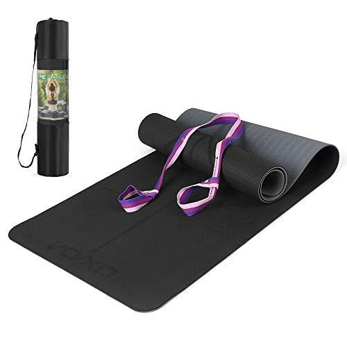 Lixada Esterilla de Yoga Antideslizante TPE Insípido con Línea de Posición Correa y Bolsa para Pilates Fitness Culturismo 183 * 61 * 0.6cm