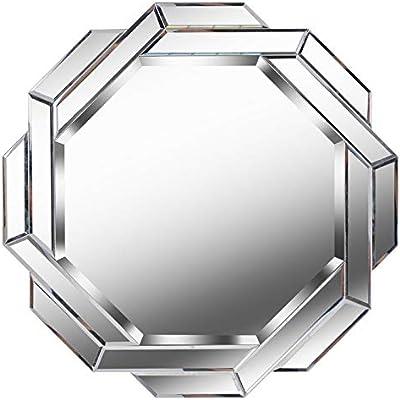 Venetian Image Modern Elegant Design Round Accent Mirror (Silver, 36x36 Inch)