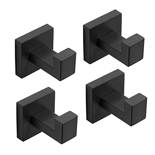 Paquete de 4 ganchos para toallas de baño, color negro mate