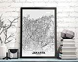 MG global Jakarta Indonesia Map Poster Hometown City Print
