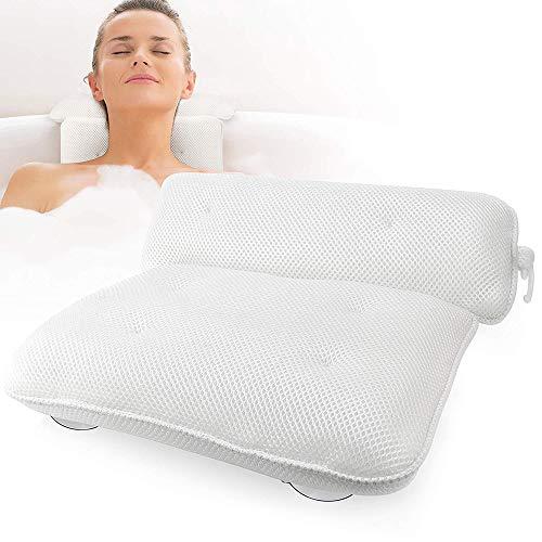 qazwsx Oreiller De Baignoire,Spa Bath Pillows Bath Cushion Pad avec 6 Ventouses,Accessoires De Bain Confort pour Head and Neck Rest Home Spa Blanc 14.3x13x3.93inch