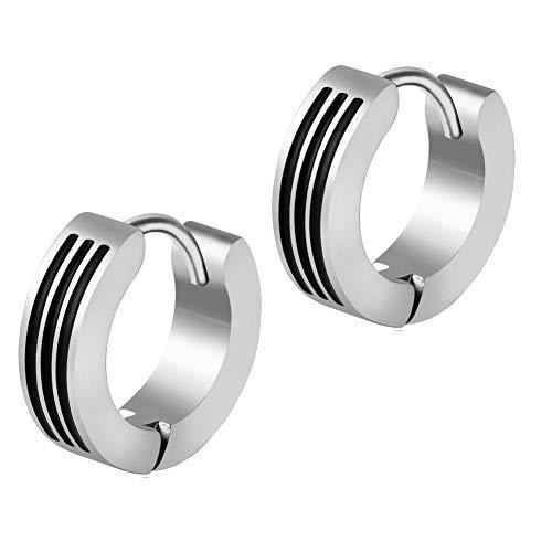Edelstahl Creolen Ohrringe Silber Schwarz Streifen Klapp-Creolen für Damen und Herren 13mm Durchmesser - 4mm breit (2 Stück/1 Paar)