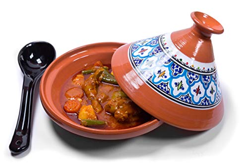 Cooking Tagine Medium Lead Free Hand Made and Hand Painted Tagine Pot with Lid for Cooking and Stew Casserole Slow Cooker,Blue