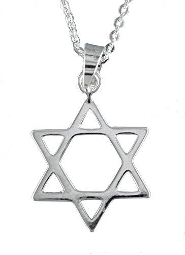 Alylosilver Collar Colgante Estrella de David de Plata para Hombre y para Mujer - Incluye una Cadena de Plata de 45 cm y un Estuche para Regalo