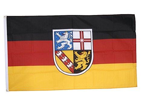 Flaggenfritze Fahne/Flagge Deutschland Saarland - 150 x 250 cm + gratis Sticker, XXL-Fahne