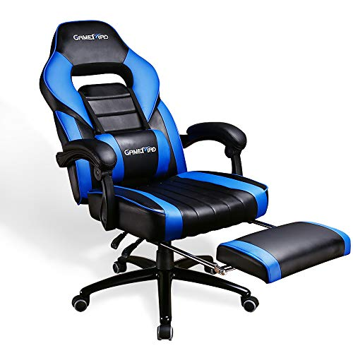 Leather Gaming Chair with Footrest and Massage Pillow, High Back Video Game Chair, Ergonomic Computer Chair with Wheels, Executive PC Chair, Office Chair, US Stock (Blue)