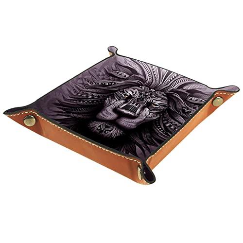 Bandeja de piel con diseño de león gris, para guardar monedas, joyas, cubos, cartera, para decoración del hogar y la oficina