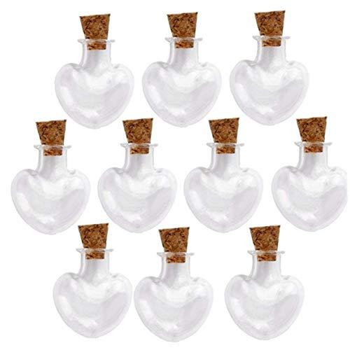 Mini Tarros De Cristal Que Desea Las Botellas Viales con Tapones De Corcho Favores De La Boda 10pcs (en Forma De Corazón)