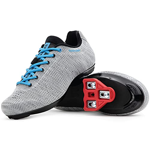 Tommaso Pista Aria Knit Women's Indoor Cycling Class Ready Shoe and Bundle - Grey/Blue - Look Delta - 39