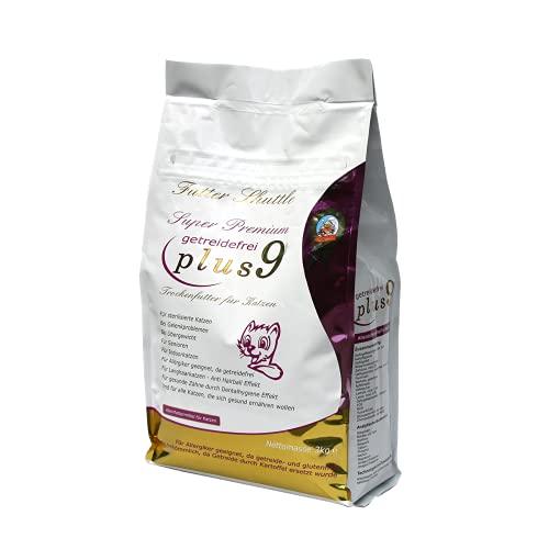 Getreidefreies Katzenfutter Trockenfutter Plus 9 in der höchsten Güte. 3 kg Mit PLUS 9 Effekt. Einzigartig auf dem Markt. Beste Qualität. Gönnen Sie Ihrer Katze ein getreidefreies Katzen Trockenfutter