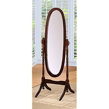 Crown Mark Cheval Mirror, Brown (Oval Espresso)