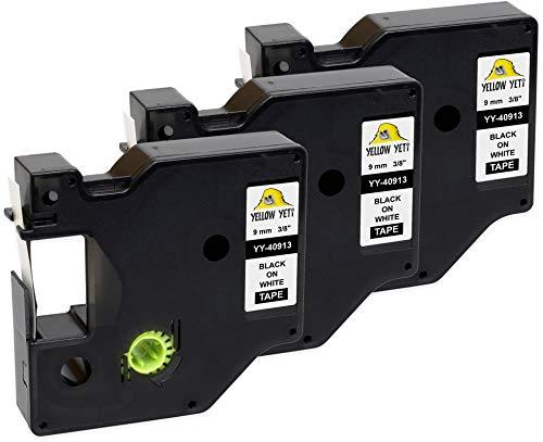 Yellow Yeti 3 Cassette Nastri D1 40913 S0720680 nero su bianco 9mm x 7m Etichette compatibili per Etichettatrici DYMO LabelManager PnP 160 210D 280 360D 420P 500TS MobileLabeler & LabelWriter 450 Duo