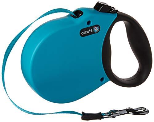 Alcott 5363-RLSHPW Abenteuer Rolleinen für Hunde Gurtleine 5 m lang Reflektstreifen im Gurt mit Soft Grauer Griff M blau, 30 kg