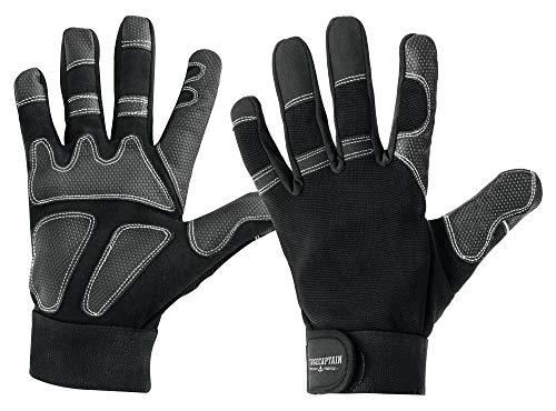 3x Set Stagecaptain Rigger Handschuhe - Arbeitshandschuhe für Herren - mit langen Fingern und innenfläche aus Kunstleder - Aufgesetzte Verstärkungen - Schwarz/Grau