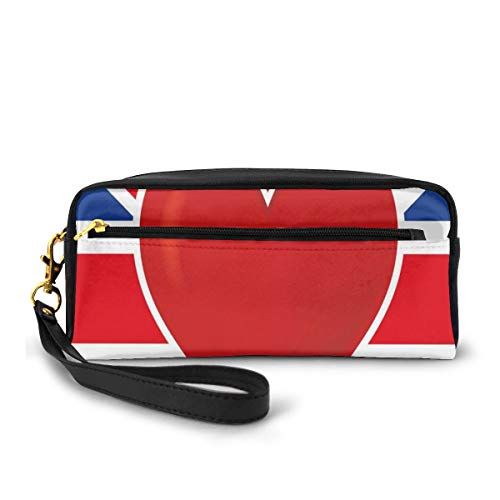 Pencil Case Pen Bag Pouch Stationary,British Flag with A Big Red Heart in Center Nationality Pride Concept,Small Makeup Bag Coin Purse