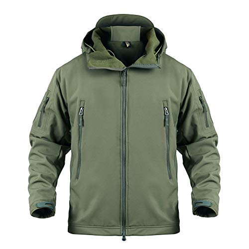Susclude Men's Outdoor Military Tactical Jacket Windproof Hunting Softshell Fleece Coat with Hood Army Green XL
