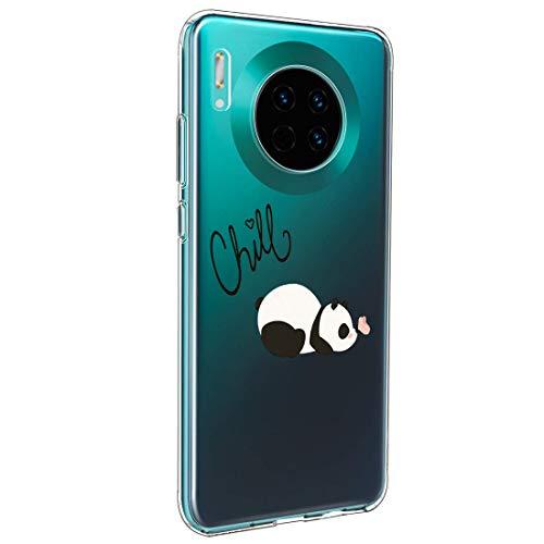 Marmer Case Compatibel met Huawei Mate 30 Pro Case marmer roze bloem Transparant Ultradun Cover Silicone Cover Clear Soft Phone Case Schokbestendig TPU Bumper Case in Huawei Mate 30 Pro, Huawei Mate 30 Pro, Ein Panda mit einem Schmetterling auf der Nase