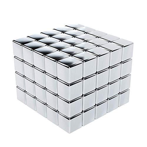 GAUDER 100 Magnetwürfel | Magnetische Neodym-Würfel | Würfelmagnete (Silber)