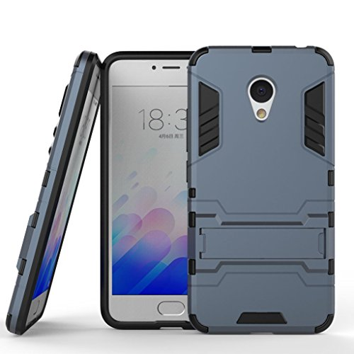 Meizu m3 note Case, Dual Layer Protection Shockproof Hybrid Rugged Case Hard Shell Cover with Kickstand for 5.5'' Meizu m3 note, Meizu Blue Charm Note 3[Not for 5.0'' Meizu m3 or Meizu m3s](Dark Blue)