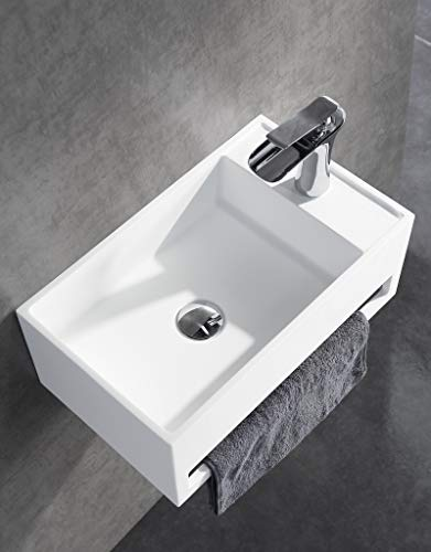 Lavabo sospeso PB2077 di pietra artificiale (Solid Stone) con porta asciugamani integrato - 50 x 30 x 20 cm - bianco opaco