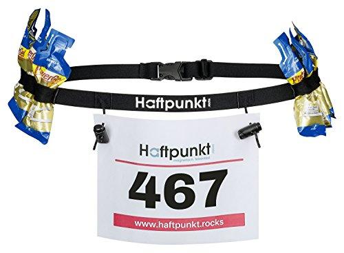 Haftpunkt Startnummernband (incl. 6 Gel Halter) zur Startnummer Befestigung - der Startnummerngürtel zum Einsatz bei Triathlon oder Marathon (schwarz)