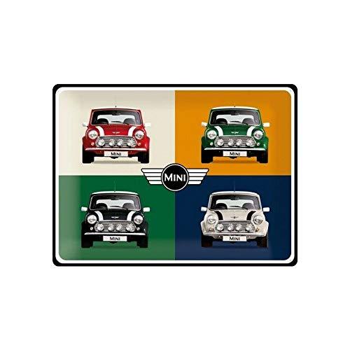 Nostalgic-Art Cartel de Chapa Retro Mini – 4 Cars Pop Art – Idea de Regalo para los Aficionados a los Coches, metálico, Diseño Vintage, 30 x 40 cm