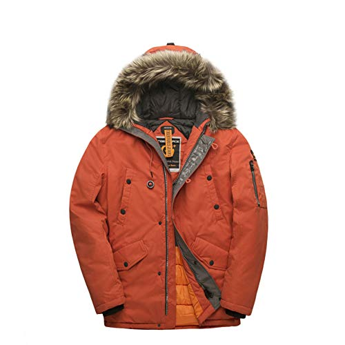 TIGER FORCE Parka Coat Winter Men Thicken Hooded Jacket Quilted Ski Snowjacket Extremely Cold Orange