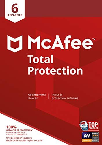 McAfee Total Protection 2020|6 appareils|1 an|Logiciel antivirus, sécurité Internet, gestionnaire de mots de passe, sécurité mobile, multi-appareil|PC/Mac/Android/iOS|Édition européenne|code