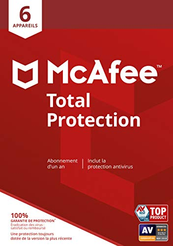 McAfee Total Protection   6 appareil   1 Usager   12 Mois   PC/Mac   Code d'activation - envoi par email