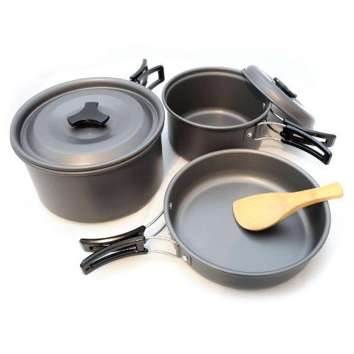 12 teiliges Camping-Geschirr aus leichtem und rostfreiem, eloxiertem Aluminium, Das Outdoor-Kochset besteht aus 2 Töpfen, ideal für 1-2 Personen, Geschirr-Set ideal als Outdoorausrüstung mit praktischen Kunststoff-Haltegriffen, Marke: GanzoO
