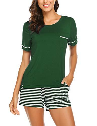 Unibelle, pigiama estivo da donna in cotone, a maniche corte, scollo a V verde scuro L