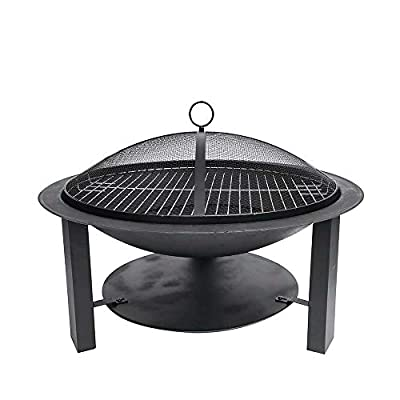 Gardenesque Hoole Collection, Leven Cast Iron Fire Pit Bowl with Lid & Grill, W74 x H50 cm by Woodlodge Products