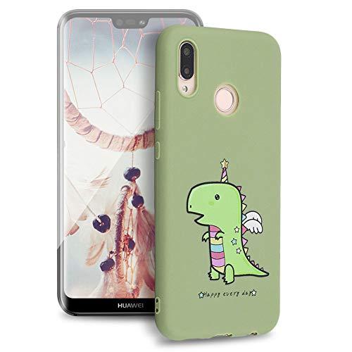 Huphant Kompatibel mit Huawei P20 Lite/Nova 3e Hülle, Silikon Handyhülle für Huawei P20 Lite/Nova 3e Case Stoßstange Gemaltes Tier Non-slip Anti-gelb Ultradünn Silikon Case -Krokodil