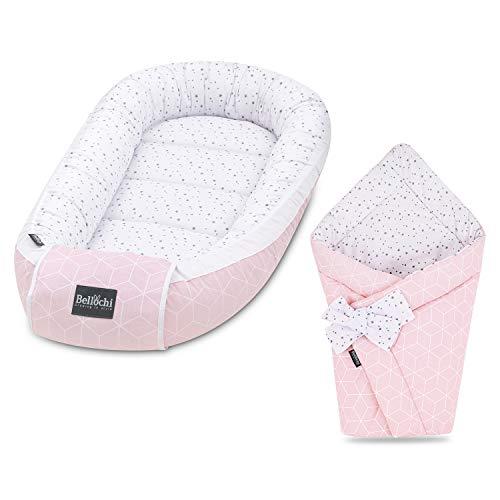 Bellochi Set 2in1 Babynest und Einschlagdecke - Baby Erstausstattung Babynestchen Babyhörnchen - 100% Baumwolle - ÖKO-TEX Zertifiziert - Aurora