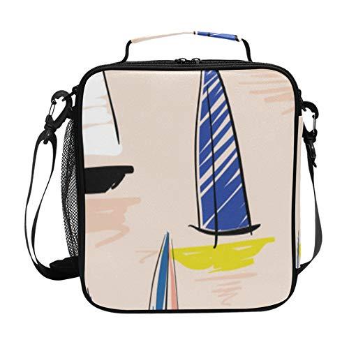 Bolsa de asas para mujeres de dibujos animados lindo yate barco de guerra náutico bolsa de almuerzo para maestros con correa de hombro ajustable y múltiples bolsillos Fiambrera de