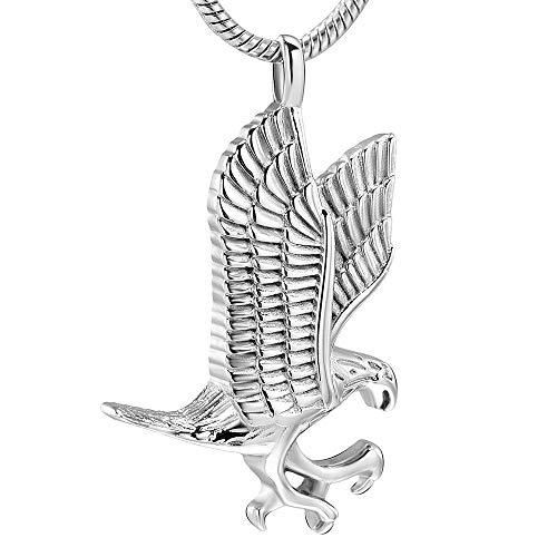 YNCHERISH Caja Funeraria Colgante Collar De Urna Eagle Memorial Volant De Acero Inoxidable 316L Recuerdo Joyería De Cremación Mantenga Cenizas para Mascotas para Mujeres Hombres