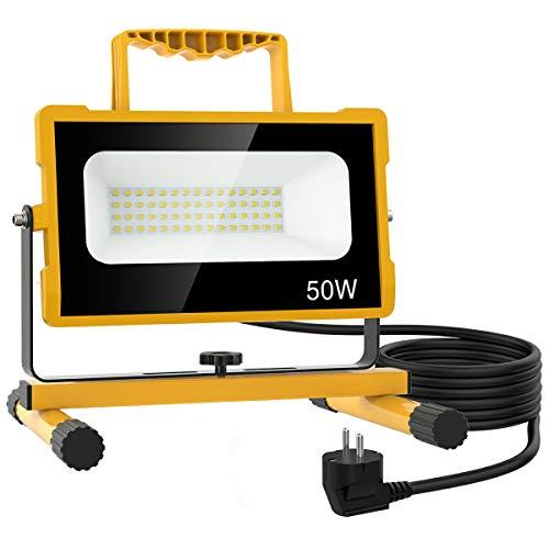 Olafus 50W Projecteur Chantier LED Ultra-Lumineux 2 Niveaux Luminosité 25W 50W Réglable 2M Câble 5000LM 6000K Blanc Froid, IP65 Etanche Éclairage Extérieur pour Atelier Bricolage Construction