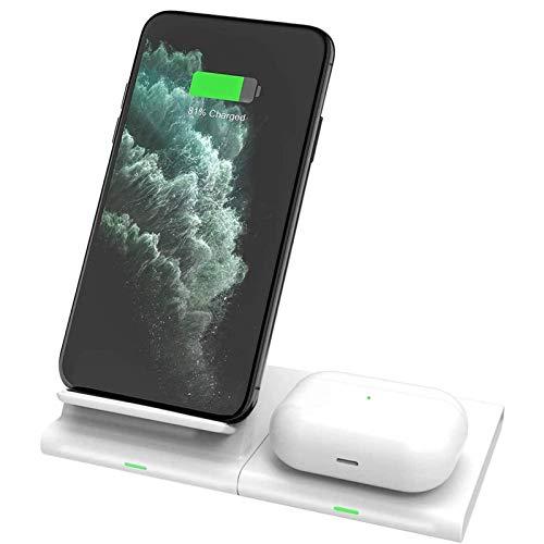 Gymqian Cargador Inalámbrico, Qi 10W 2 en 1 Estación de Carga Rápida para Iphone Se / 11/11 Pro Max/Xs/Xr/X / 8P / Airpods Pro, Samsung Galaxy S20 / S20 + / S10 / S10E / S9 /
