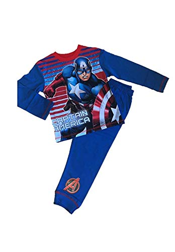 Jungen Schlafanzüge Satz Marvel Avengers Captain America Pyjama - Blau, 134-140
