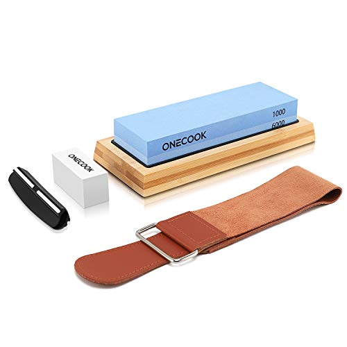 ONECOOK K2-PLUS Knife Sharpening Stone 1000/6000, Dual Sided Whetstone Sharpening Kit, with Non-slip Bamboo Base, Leather Strop, Flattening Stone and Angel Guide