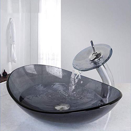 Grifos Gris cuenca del fregadero de la vanidad del recipiente Aseo y baño templado Mezclador Cuenca del lavabo de cristal grifo de lavabo con desagüe Para el hogar, baño, fregadero de la cocina, níque