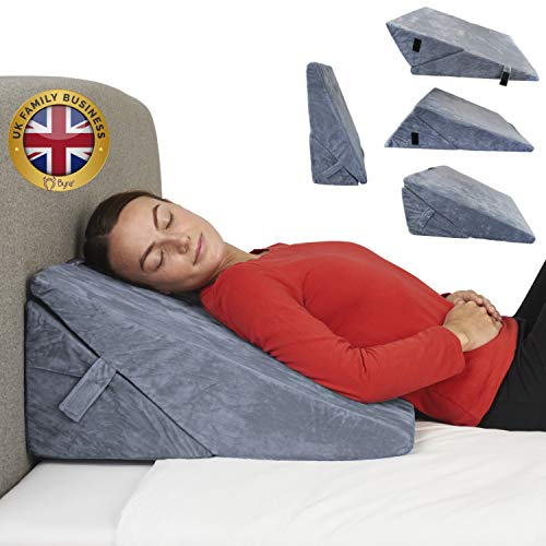 Byre Wedge Pillow | Premium Foam Folding Wedge Pillow | UK Family Business | Adjustable Pillow for Sitting, Reading, Back Pain, Leg Pain, Heartburn, Acid Reflux | Removable and Washable Cover