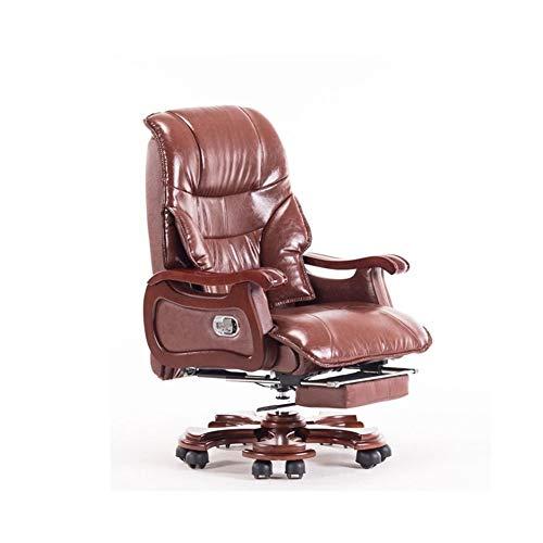 JCXOZ Chefsessel Büro Massage Erste Schicht Rind Lehnstuhl Stilvolle justierbare Gaming Sitzkopfstütze Ergonomische mit Fußrasten Zurück Lordosenhöhen Bürostühle (Color : Brown)