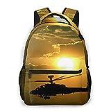 Mochila de ocio al aire libre para mujeres, hombres, niños, viaje, mini mochila, mochila para computadora portátil, monedero, EE. UU. Army Helicopter Sunset All Seasons Unisex de gran capacidad Durab