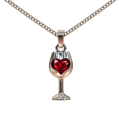 Red Crystal Love Heart Bottle Wine Glass Pendant Y Necklace, AILUOR Stainless Steel Love Wine Cheers Women Gold 18'' Jewelry (Red)