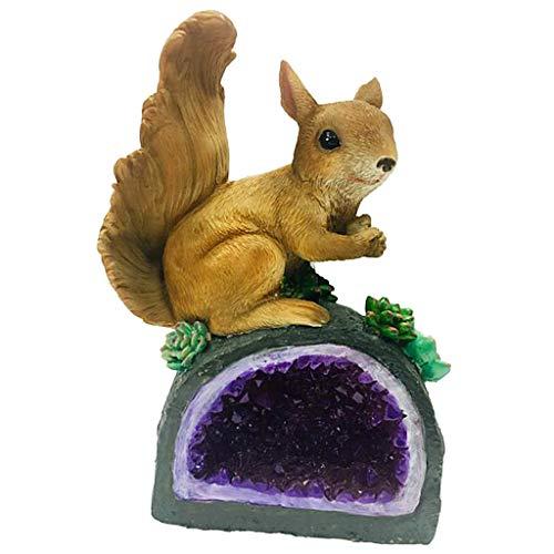 B Blesiya Solarfigur Tierfigur Dekofigur für Garten Gartenleuchte Gartenlampe Gartendeko - Hund - Eichhörnchen B
