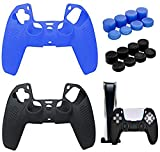 Silicone Cover Skin for PS5 DualSense Controller, (2 Pack+ 16 Thumb Grips) Anti-Slip Controller Grip Cover Dustproof Durable Protector Case for PS5 Controller