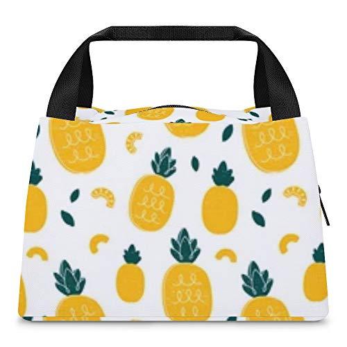 Bolsas frías para el almuerzo, bolsa para el almuerzo, bolsa de almacenamiento portátil, con aislamiento térmico, impermeables, para mujeres y niñas, estilo de dibujo a mano de piña, belleza